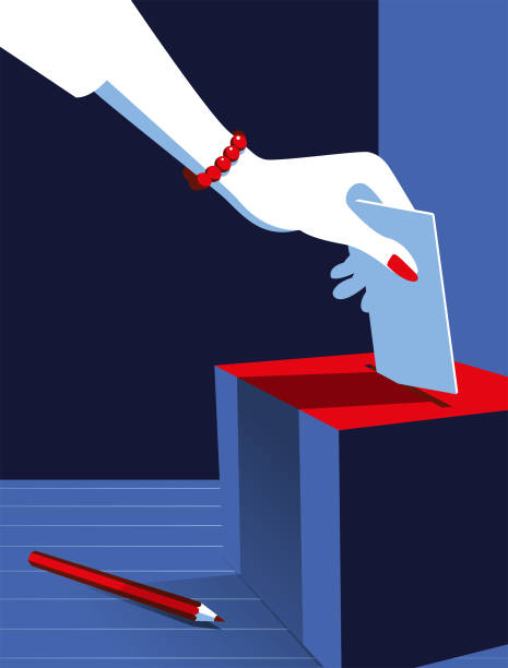 Simple Illustration Woman Voting at the Ballot Box Vote Now! A stylized vector cartoon of a woman's hand posting at a vote in a ballot box with a pencil in the foreground, the style is  simple and reminiscent of an old screen print poster and suggesting, democracy, choice, election, voting or decisions. Hand, Box, pencil, ballot box, and background are on different layers for easy editing. Please note: clipping paths have been used. suffragist stock illustrations