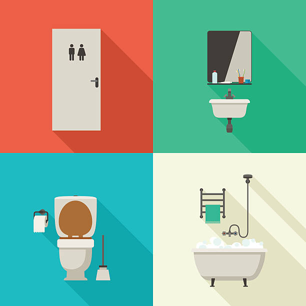 einfache grafiken von badezimmer. - badezimmer stock-grafiken, -clipart, -cartoons und -symbole