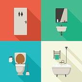 Simple illustrations of bathroom.