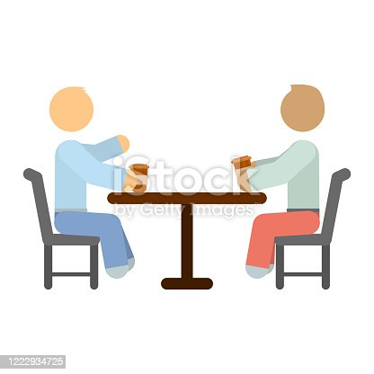 A simple image of people sitting at the same table and drinking coffee. Cartoon minimalistic performance. Isolated vector illustration on a white background