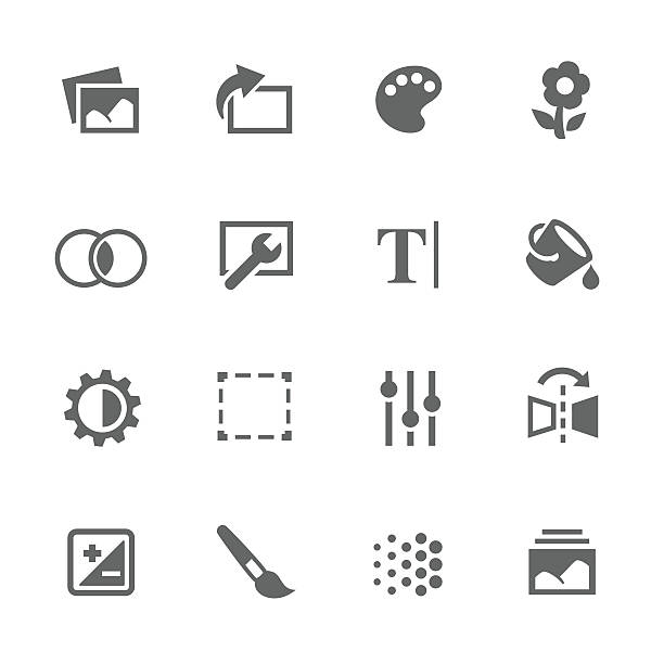 stockillustraties, clipart, cartoons en iconen met simple image settings icons - op maat gemaakt