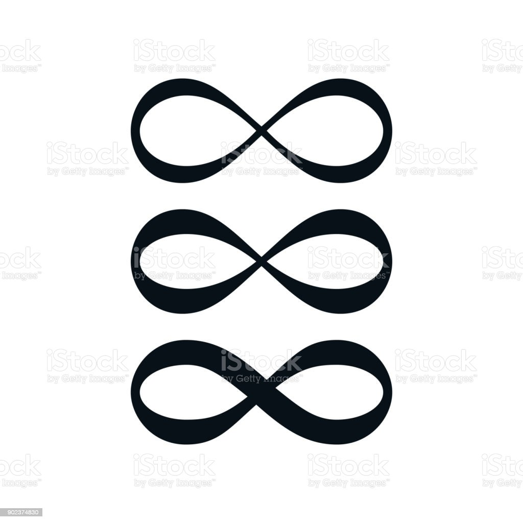 Simple infinity symbol set vector art illustration