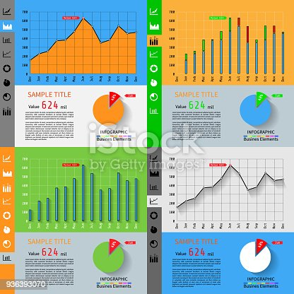 Simple infographic dashboard template with flat design graphs and charts.