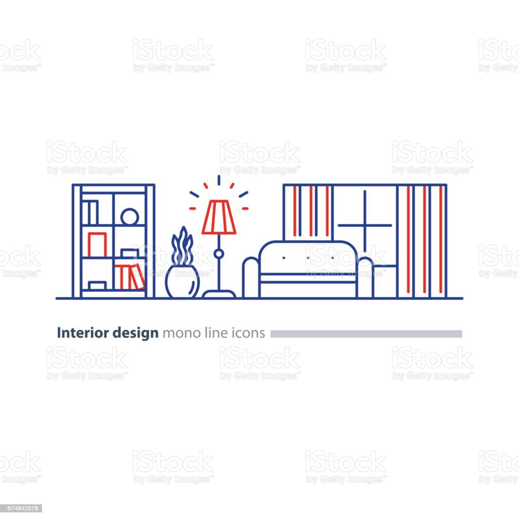 Simple interior, apartment design services, line furniture icons set vector art illustration