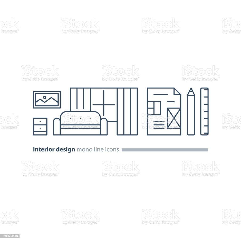 Einfache Einrichtung, Wohnung Planungsleistungen Stellen Linie Möbel Icons  Lizenzfreies Einfache Einrichtung Wohnung Planungsleistungen Stellen Linie