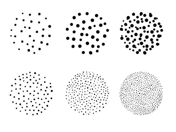 illustrazioni stock, clip art, cartoni animati e icone di tendenza di simple isolated circles stipple dot art brush set for texture background vector design - puntinismo