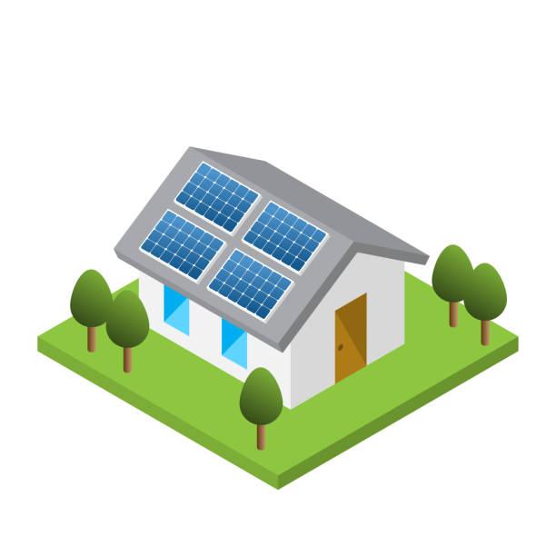 einfaches isometrische haus mit solar dachpaneele - solaranlage stock-grafiken, -clipart, -cartoons und -symbole