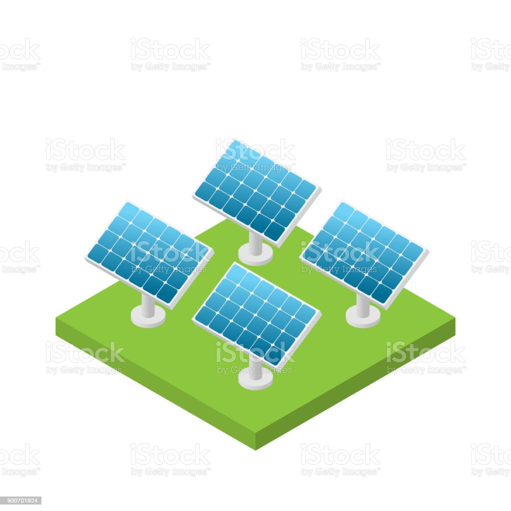 Simple Isometric Solar Cell Power Plant Isolated Stock Vector Art Projects On Image Of A Schematic Royalty Free