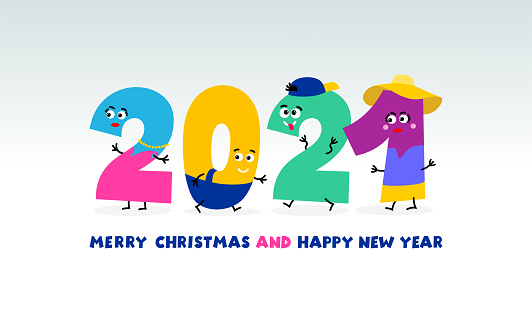 Simple kids flat colorful number 2021 Happy New Year design. Colored 2021 text for children template. Vector illustration. Isolated on white background.