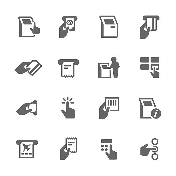 Simple Kiosk Terminal Icons vektör sanat illüstrasyonu