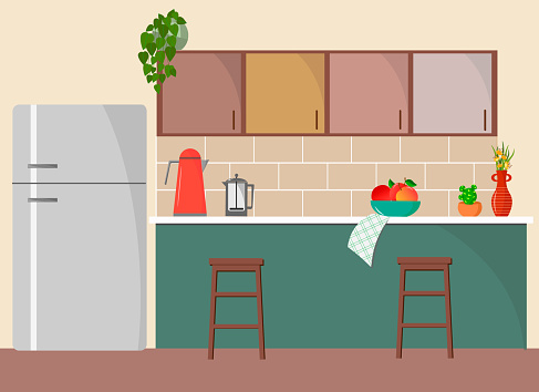 Simple kitchen interior with refrigerator, kitchen cabinets, table and chairs.