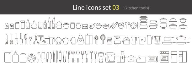 simple kitchen tools line icon set, vector illustration black simple kitchen tools icon set, vector illustration. cooking utensil stock illustrations