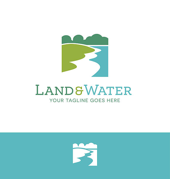 ilustraciones, imágenes clip art, dibujos animados e iconos de stock de simple land and shoreline icon for creative use - lago