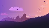 Simple cozy landscape of silhouettes - landscape and birds against the sky and clouds.