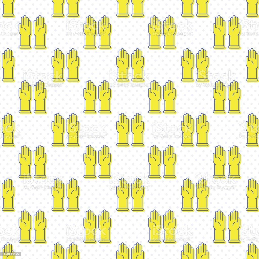 Simple latex gloves icon seamless pattern vector art illustration
