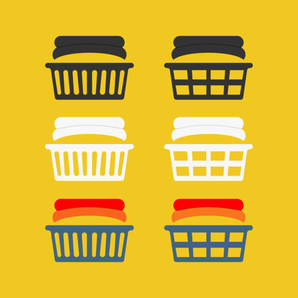 Simple laundry basket icons Simple laundry basket icons set for household chemistry design laundry basket stock illustrations
