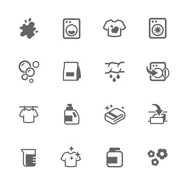 Simple Laundry Icons Simple Set of Laundry Related Vector Icons. Contains Such Icons as Detergent, Spot, drying and More. dry measure stock illustrations