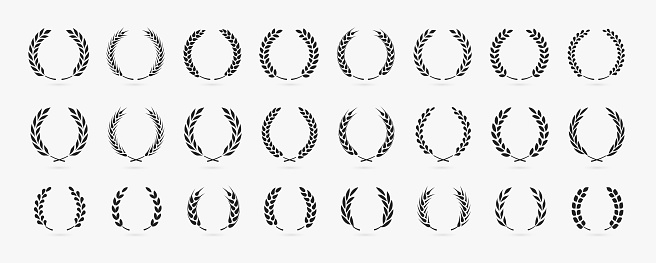 Simple laurel wreath icon set isolated on white. Vector illustration