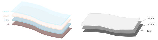 Simple layers or fabric diagram. Two versions one layer is transparent, sheets are slightly bent vector art illustration