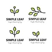 Simple leaf and brnaches  signs set vector collection
