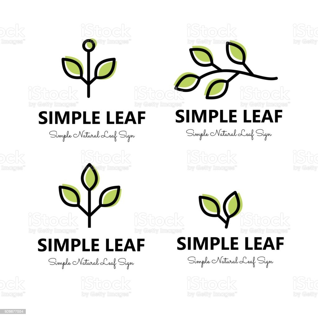 Simple leaf and brnaches  signs set vector – artystyczna grafika wektorowa