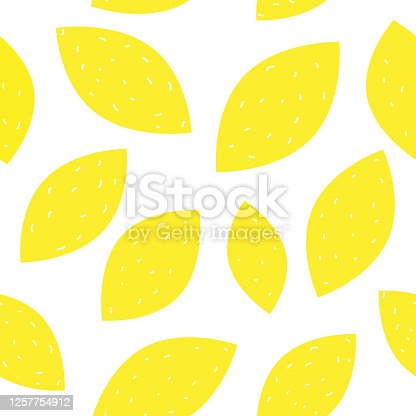 istock Simple lemon seamless pattern vector illustration. Summer yellow design 1257754912