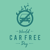 Simple letter emblem car free day for element design in flat style. Flat illustration of World car free day vector banner concepts. Vector illustration EPS.8 EPS.10