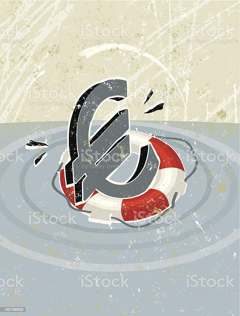 Simple Life Ring Saving a Euro Symbol royalty-free stock vector art