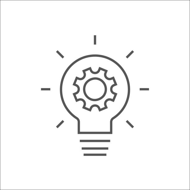 Simple light bulb conceptual icon with gear inside. Vector illustration. Idea symbol isolated on white background. EPS 10 vector art illustration