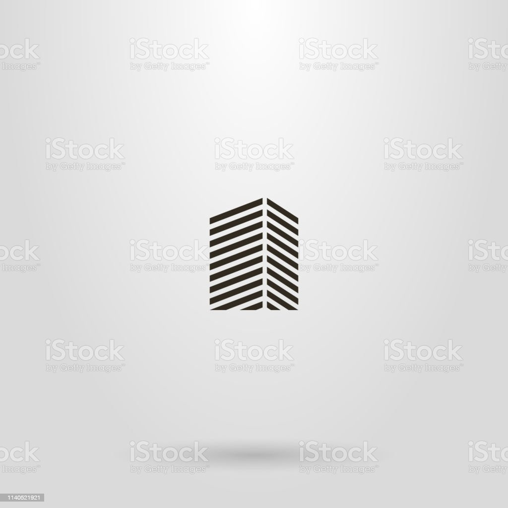 simple line art geometric sign of a high-rise building from diagonal lines vector art illustration