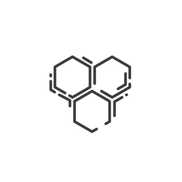 einfache linie kunst-ikone von drei biene sechseckige wabe - bienenwachs stock-grafiken, -clipart, -cartoons und -symbole