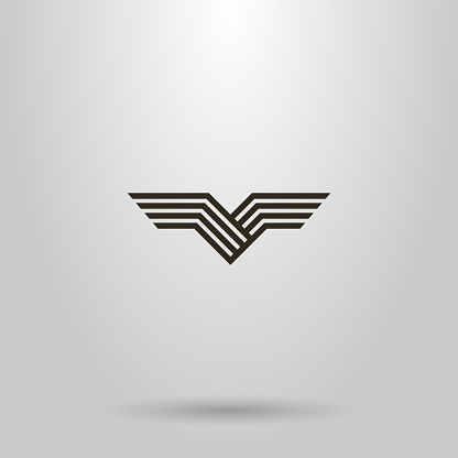 simple line art vector abstract sign of bird wings