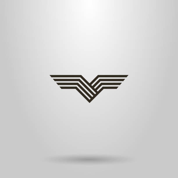 simple line art vector abstract sign of bird wings black and white simple line art vector abstract sign of bird wings aircraft wing stock illustrations