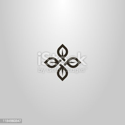 black and white simple line art vector cruciform sign of four tea leaves