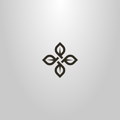simple line art vector cruciform sign of four tea leaves