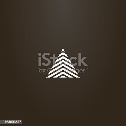white sign on a black background. simple line art vector sign of modern striped triangle