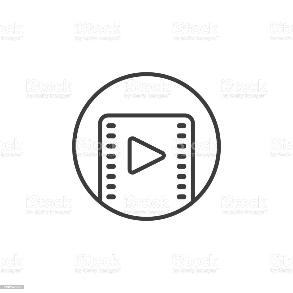 Simple Line Art Video Player Icon In A Round Frame Stock Vector Art ...