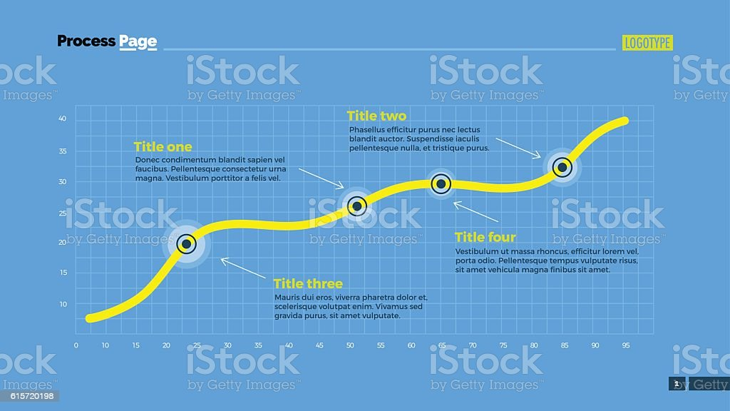 Simple Line Chart Slide Template vector art illustration