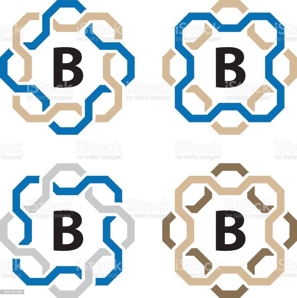 Ligne Simple Cadre Circulaire Lettre Symbole Vecteur Cliparts
