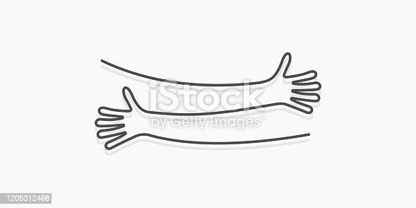 istock Simple line creating hug drawing. Vector illustration 1205312468