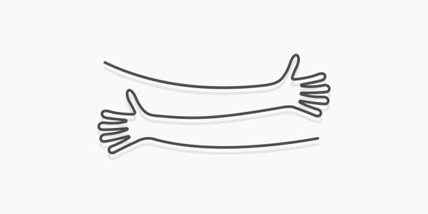 Simple line creating hug drawing. Vector illustration Simple line creating hug drawing. Vector illustration hug stock illustrations