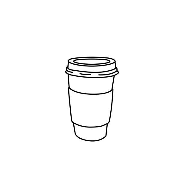 bildbanksillustrationer, clip art samt tecknat material och ikoner med enkla linjeritning kaffekopp vektorillustration - kaffekopp