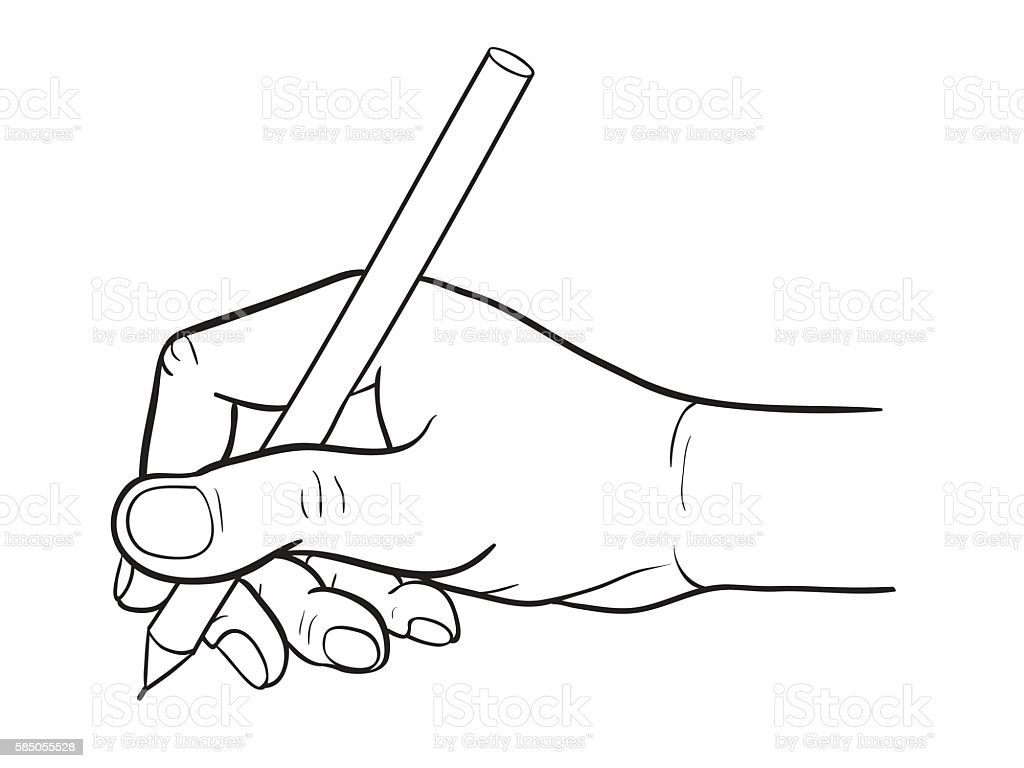 Line Drawing Pen : Simple line drawing of hand holding a pen stock vector art
