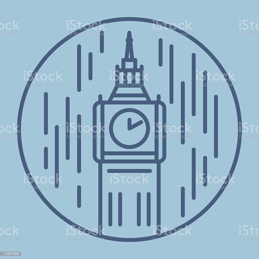 simple line drawn illustration of london big ban tower in vector art illustration
