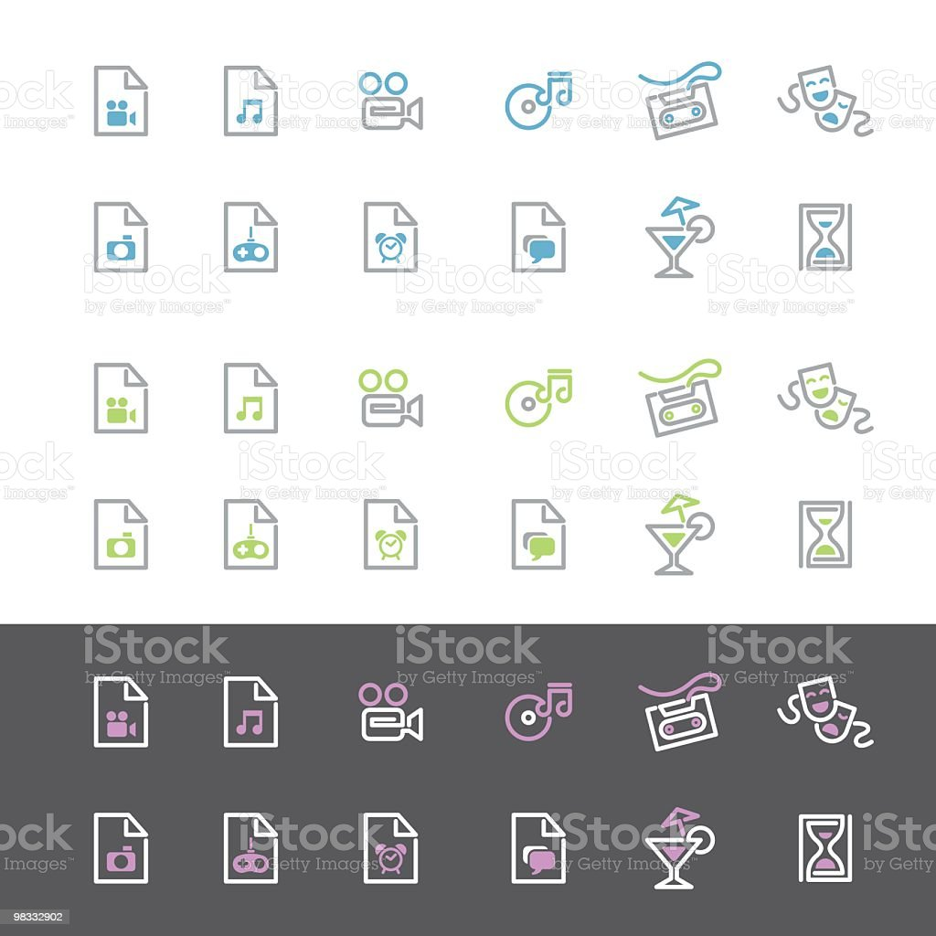 Simple Line Entertainment Icon Set royalty-free simple line entertainment icon set stock vector art & more images of alarm clock