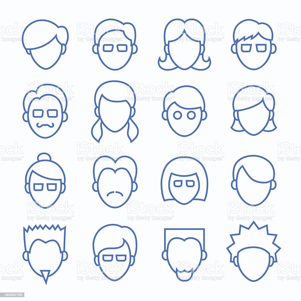 Simple Line Faces Icons Set vector art illustration