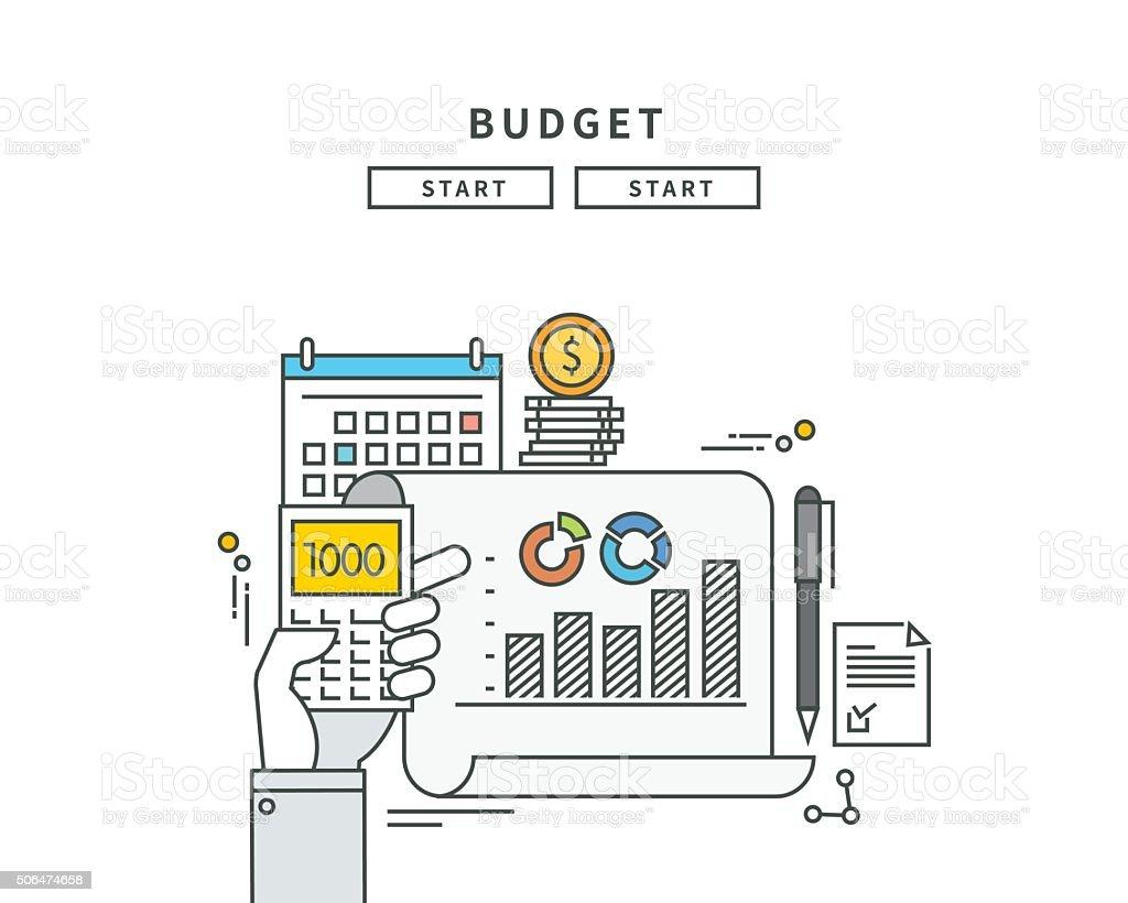 Simples lignes budgétaires, design plat moderne vector illustration - Illustration vectorielle