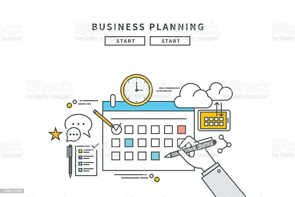 Ligne simple design plat de planification d'affaires moderne, illustration vectorielle - Illustration vectorielle