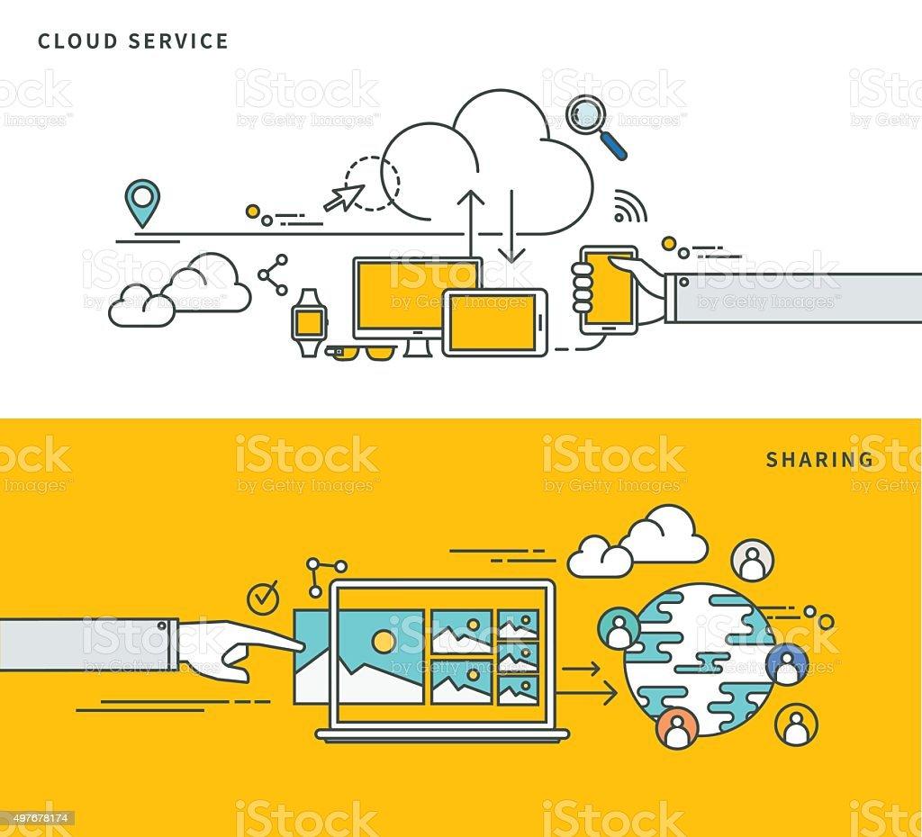 Lignes simples, à des nuages & design de partager - Illustration vectorielle