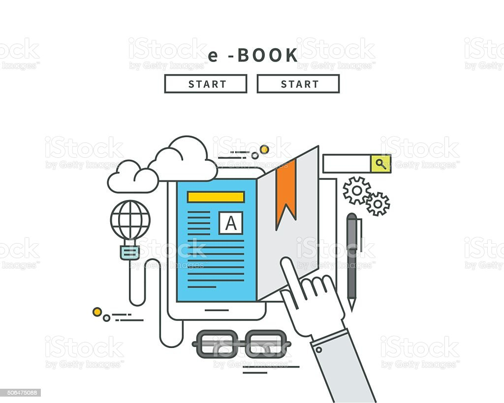 simple line flat design of e-book, modern vector illustration vector art illustration